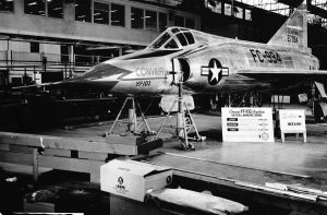 YF-102 (S/N 52-7994) at the Convair assembly plant on Oct. 2, 1953, the date of completion for the first airframe. April 1, 1952, was the start date of the detail design, and May 1, 1953, was the date of design completion. (U.S. Air Force photo)