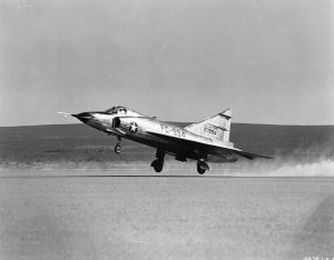"""The primary mission of the F-102 """"Delta Dagger"""" was to intercept and destroy enemy aircraft. It was the world's first supersonic all-weather jet interceptor and the USAF's first operational delta-wing aircraft. The F-102 made its initial flight on Oct. 24, 1953 and became operational with the Air Defense Command in 1956. At the peak of deployment in the late 1950's, F-102s equipped more than 25 ADC squadrons. Convair built 1,000 F-102s, 875 of which were F-102As."""